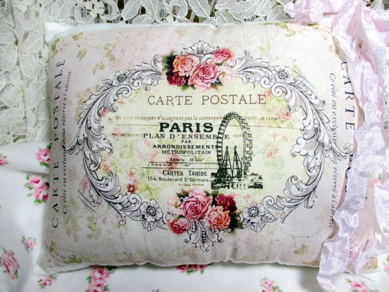 PARIS Carte Postale Pillow French Script Pink by ThePeonyShanty