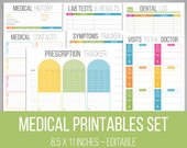 Medical Printables Set - Organizing Printables - EDITABLE - DIY Medical Binder - Healthcare Tracker