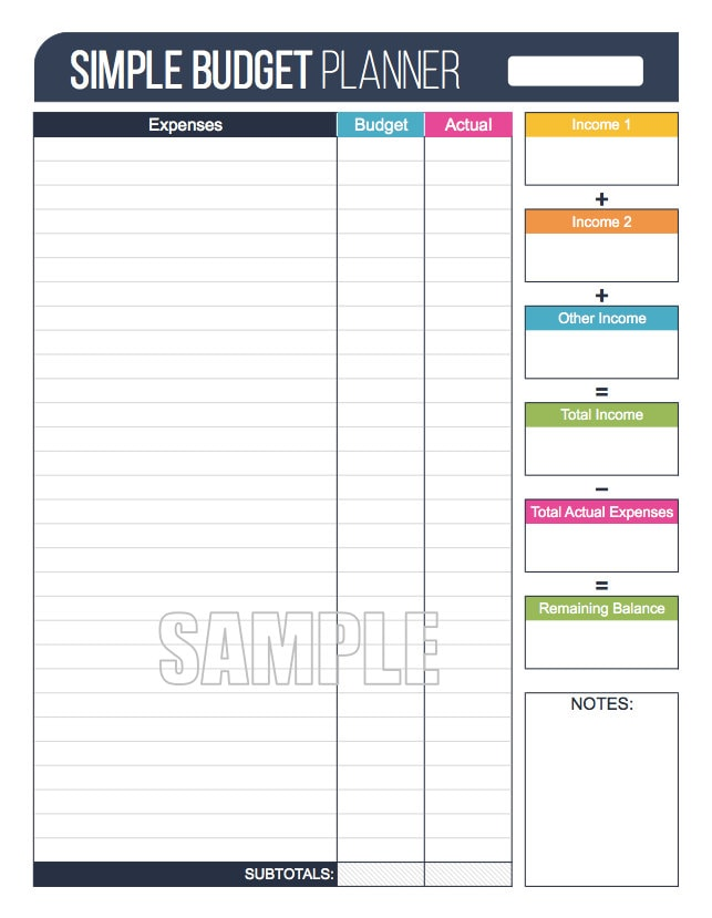 Simple Budget Planner Worksheet EDITABLE Personal – Budget Planner Worksheet