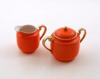 Goldcastle Orange Porcelain Creamer and Covered Sugar Set, with 24k Gold Trim, 1950s Vintage, Japan