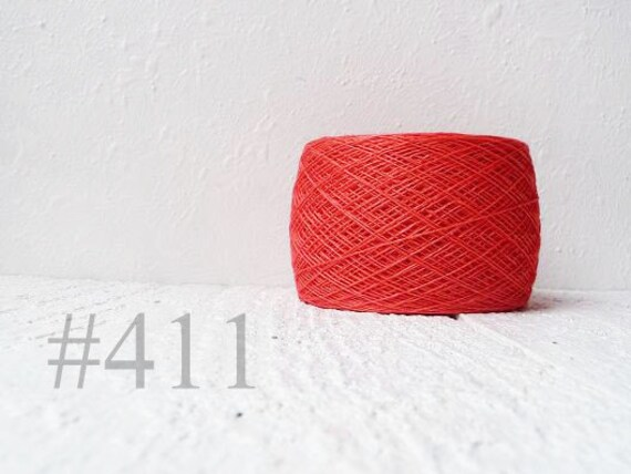 Linen Yarn, linen thread, Coral , red , coral linen yarn #411