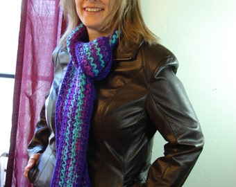 Purple and Turquoise Crochet Scarf