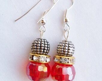 Red crystal and metal earrings - Swarovski banded earrings - red crystal earrings - red jewerly - metal beaded earrings - red gift