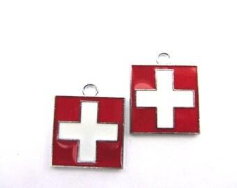 4 pcs. Medical Symbol Enamel Charm Pendants