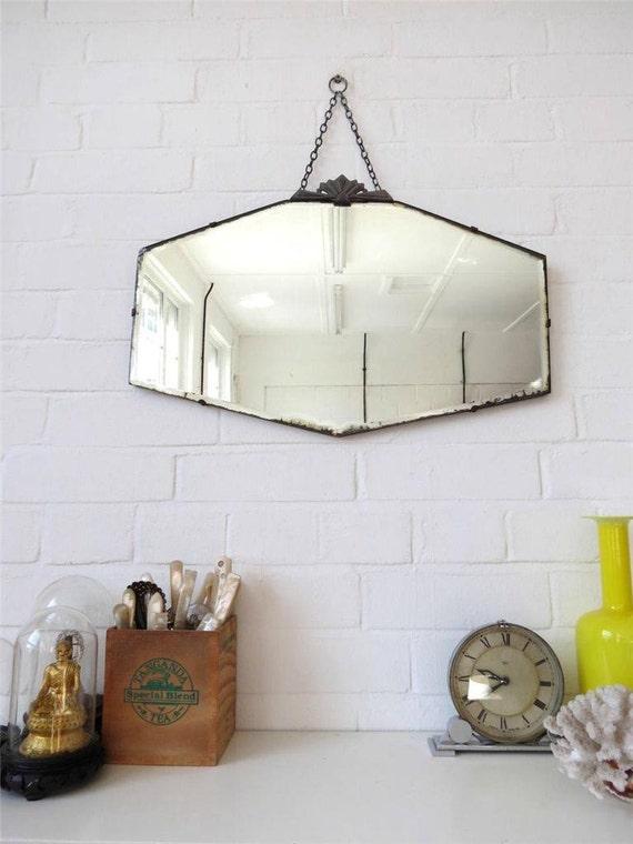 Specchio da parete bordo bisellato vintage art deco con - Specchi pubblicitari vintage ...