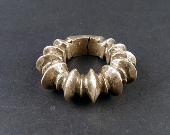 African ring mixed silver from West Africa, fulani or peul african jewelry, tribal ring, fulani ethnic ring, Mali, subsaharian ring, 17 mm