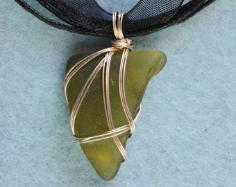 Dank Green Sea Glass Pendant