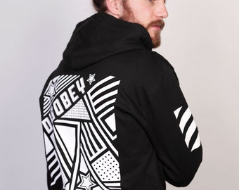 Disobey Black Streetwear Hoodie with Zip Front and Printed Sleeves by Allriot.Free UK & US Shipping.