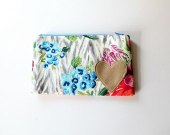 Floral Zipper Pouch Small Zip Pouch Golden Heart Pouch