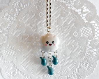 Kawaii Cloud & Rain Necklace, Choice of Stainless Steel Chain, Cute! :D