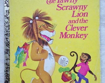 The Tawny Scrawny Lion and the Clever Monkey 1974 Little Golden Book