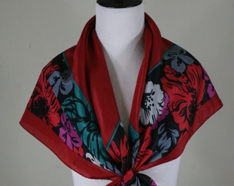 1980s Marsala Red Floral Border Print Large Square Scarf