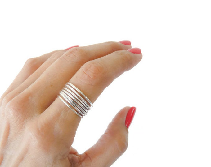 Stacking Rings Skinny Sterling Silver Hammered Stackable Women Ring Handmade Jewelry Under 25