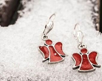 Enamel angel Earrings , Oxblood red Enamel Jewelry, Bohemian Jewelry