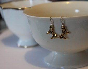 Antique plated Gold Bow Earrings