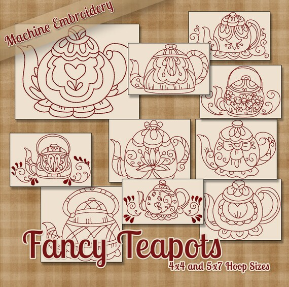 Redwork fancy teapots machine embroidery patterns designs for Kitchen patterns and designs