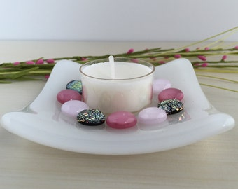 Pink Fused Glass Votive Candle Dish with Dichroic Glass Dots