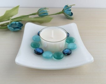 Handmade Fused Glass Votive Candle Dish With Dichroic Glass