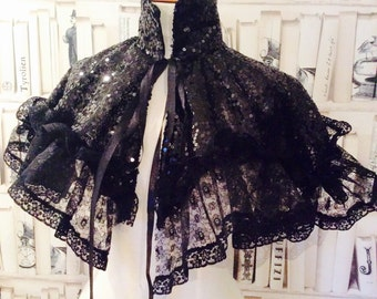Victorian Gothic  Black Sequin and Lace Necklace Collar Neckpiece Bib Cape Steampunk