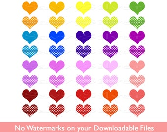 Digital Heart Clipart - Colorful Rainbow Hearts Clip Art, Printable, Polka Dot Heart, Small Commercial Use, Instant Download