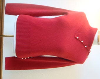 Vintage Red Turtleneck Mainbocher Cashmere Sweater upcycle repair Pearl buttons for fabric and buttons Small