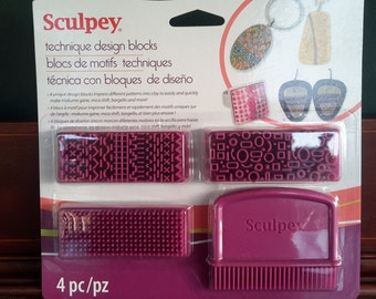 Sculpey, technique design blocks set. Perfect for mica shift, mokume gane, and general texturing in polymer clay, PMC & more