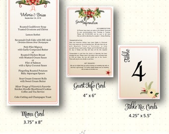 Wedding Guest Information Cards, menu cards, table number cards, floral, reds, rustic, casual, modern, digital, printable, W22052.a