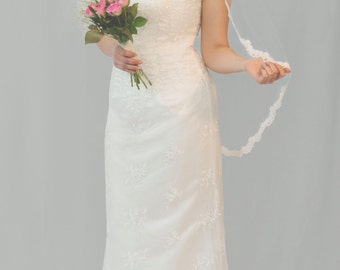 Couture bridal veil, lace edge veil, 3/4 length, Eve