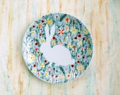 Hand painted porcelain plate - Bunny rabbit in wildflowers