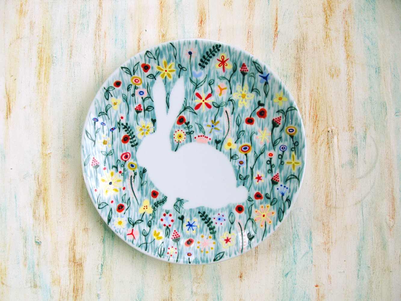 Hand painted porcelain plate bunny rabbit in wildflowers for Where to buy ceramic plates to paint
