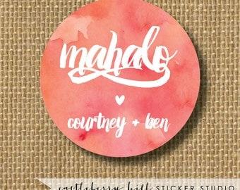 Mahalo gift tag, watercolor wedding sticker, mahalo wedding sticker, Hawaiian wedding, hawaiian wedding ideas, Watercolor favor gift tags
