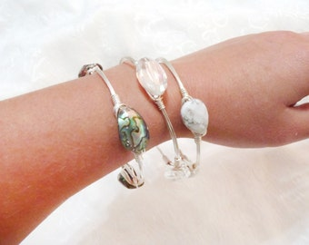 Abalone Shell Wire Wrapped Bangle Bracelet set - with Teardrop, Faceted, Howlite Stone and Clear Crystal On Silver Non-Tarnish Wire