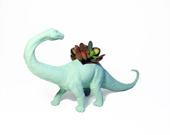 Up-cycled Sea Glass Apatosaurus Dinosaur Planter