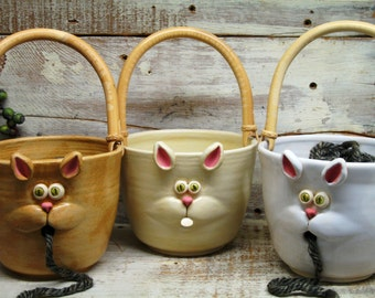 Cat Face Yarn bowl - Knitting Bowl - Large Yarn Bowl with Cute Cat Mouth - Made to Order - may not arrive in time for Christmas