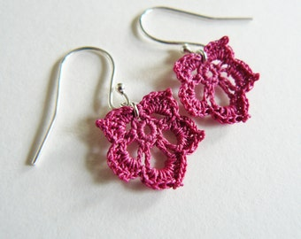 Pink Crochet Leaf Earrings