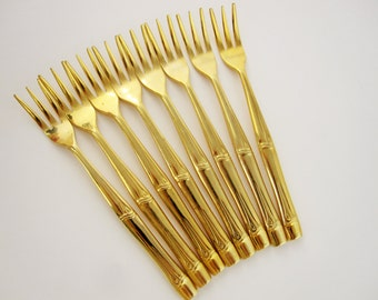 Eight Goldtone Appetizer or Seafood Forks - 'Bamboo' Pattern - Oxford Hall, Japan,  Goldtone Stainless - Seafood Forks