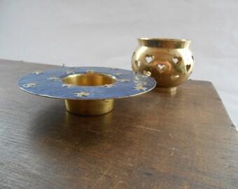 Swedish Vintage Brass candle holder Set of 2 Brass candle holder Holiday home decor Scandinavian Christmas