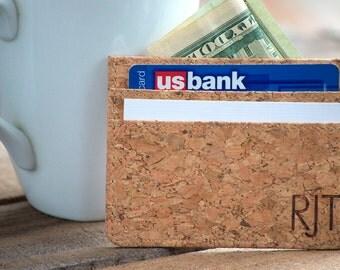 Slim Minimalist Cork Wallet, Card Holder, Personalized, Vegan / Vegetarian Wallet Eco Friendly