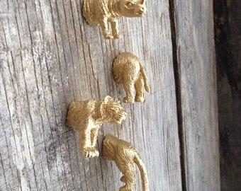 animal magnets / safari / jungle / gold / set of 4 / fridge fun / gift