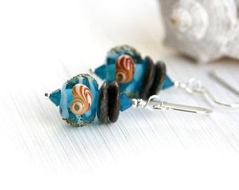 Aqua Blue Earrings, Beach Inspired Jewelry, Blue Glass Earrings, Handmade lampwork, Beach Earrings, sterling silver, by MayaHoney