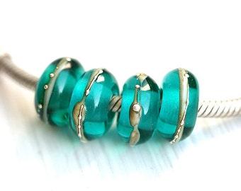 Teal Large hole bead, European charms, Handmade Lampwork, Glass Bracelet beads, Ocean jewelry, SRA, by MayaHoney