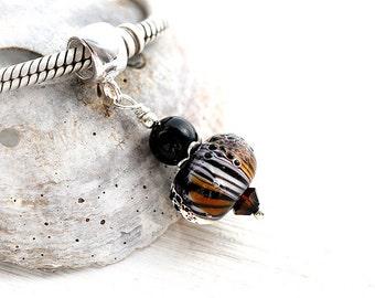 Tiger stripe Jewelry, Dangle charm bead, European style, Glass charm, Black Bracelet bead, Handmade lampwork, SRA, by MayaHoney