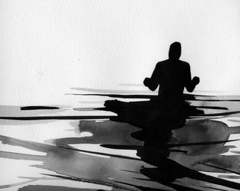 """Figure Water Ink Drawing Gothic Dark Shadow Silhouette Fine Art """"Immersion No. 45"""""""
