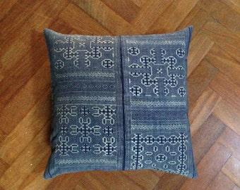 "Blue Hmong Traditional Fabric, HEMP handmade Gray fabric- 20"" x 20"" inch, Tribal pillow cover, Decorative pillow case, Throw pillow"