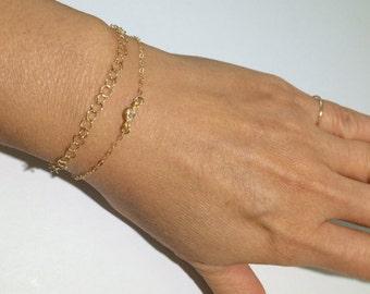 14k Gold Filled Thin Bracelet, Dainty Bracelet, Minimalist Bracelet, Gold Bracelet
