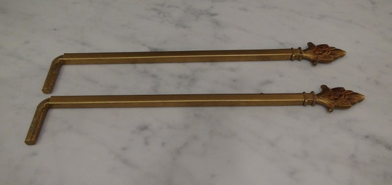 antique pair swing arm curtain rods drapery hangers sign holders