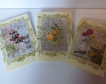Pack of three hand made vintage effect cards.