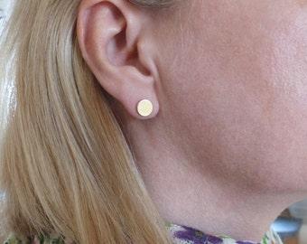 Gold ear studs 333Gold 8 mm - handmade jewelry