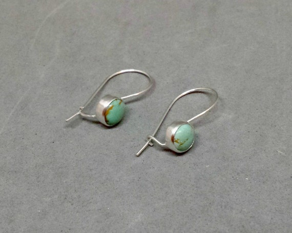Kingman turquoise earrings sterling silver kidney wire for Jewelry made from kidney stones