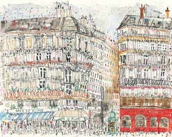 CAFE De FLORE PARIS Print, French Wall Art, Paris Watercolor Painting Drawing Sketch, Boulevard St Germain, Parisian Cafe Clare Caulfield